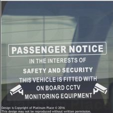 1 x Passenger Notice-On Board CCTV Monitoring-Safety,Security,Car,Taxi,Minibus,Cab